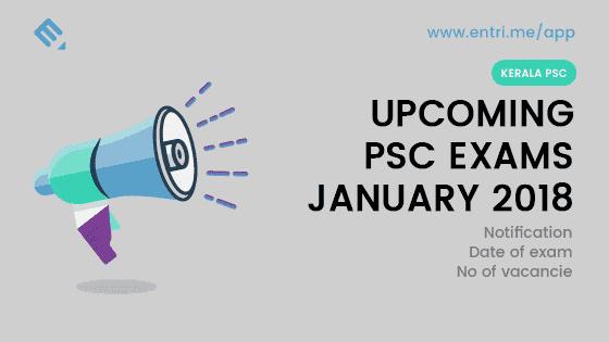 Kerala PSC Exam Time Table January 2018
