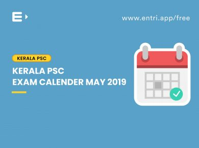 Kerala PSC Exam Calender May 2019